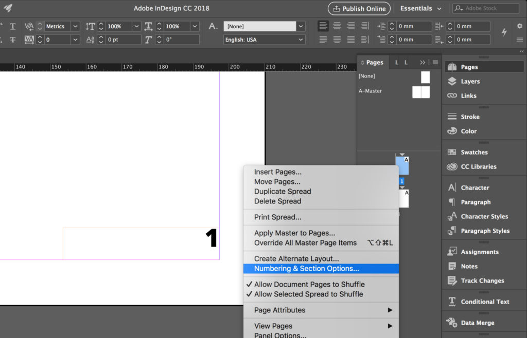 Change InDesign page numbers' style