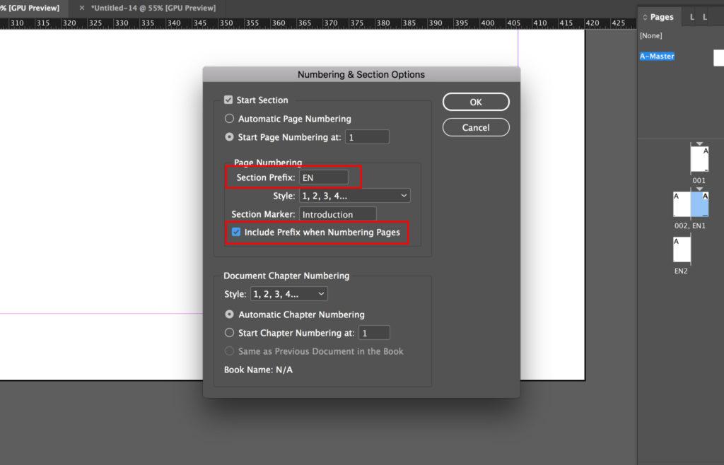 Edit section prefix