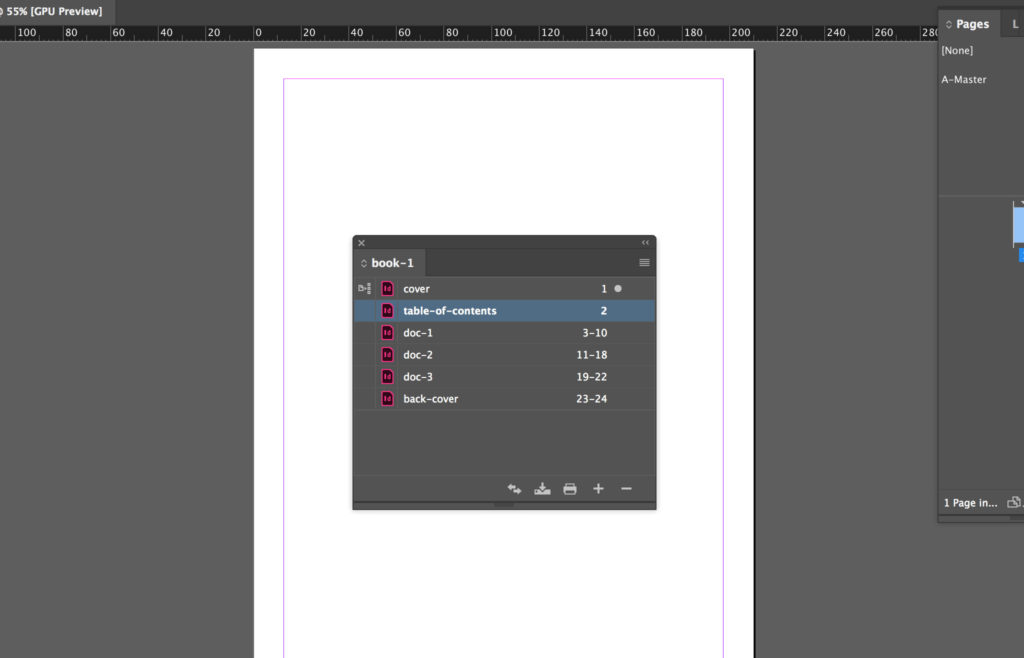 Overview of the InDesign book panel with a file open.