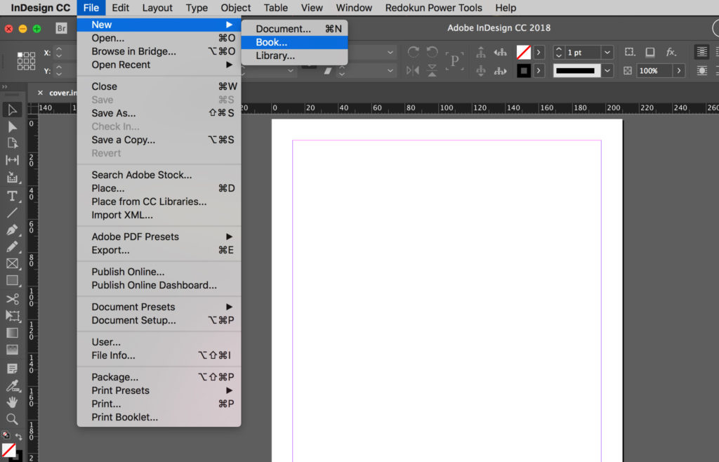 Create new InDesign book.