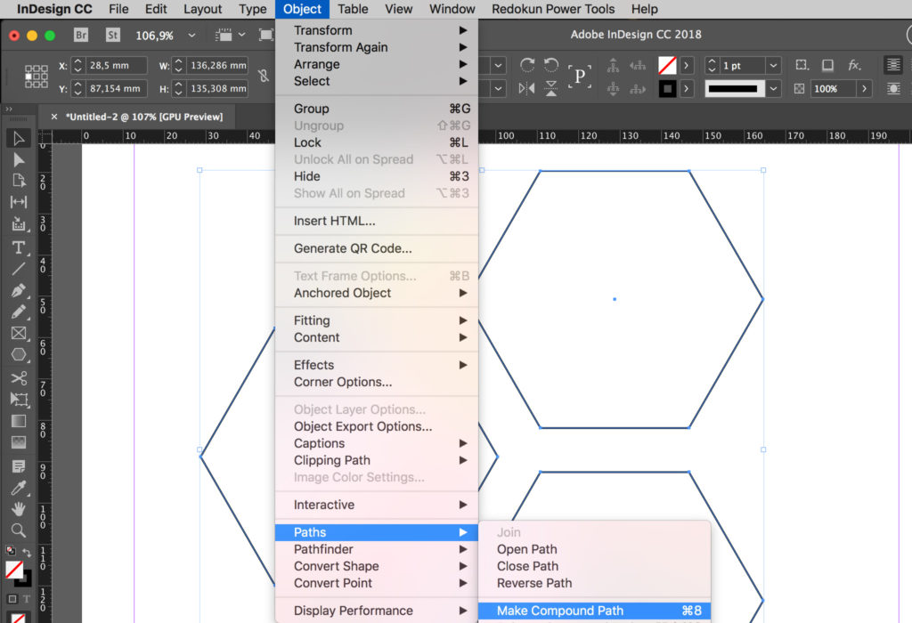 How to make a compound path in InDesign