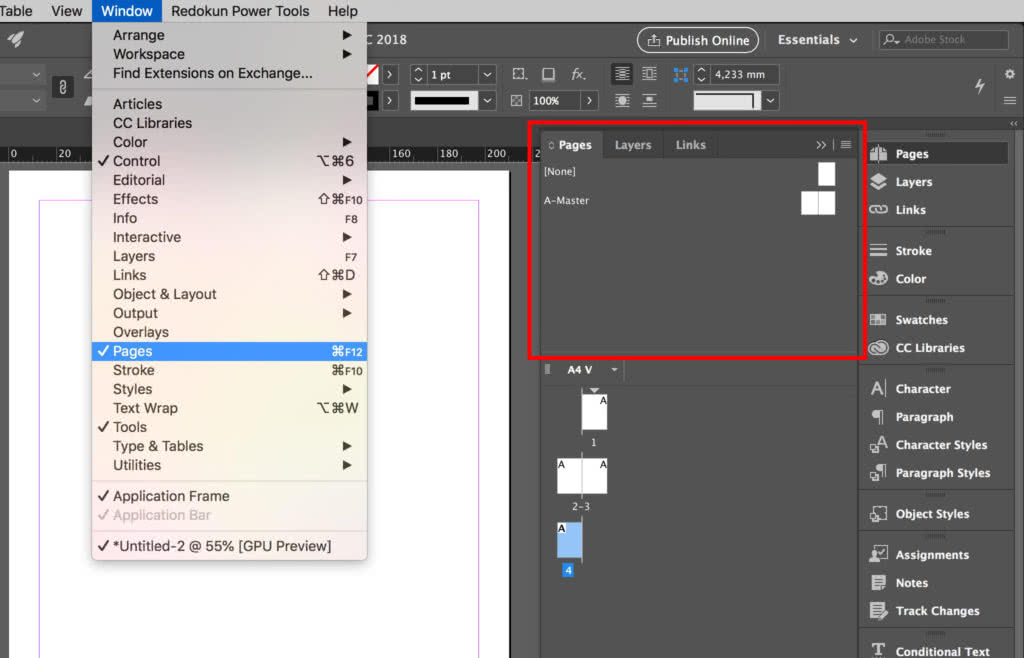InDesign Master pages in the Page Panel