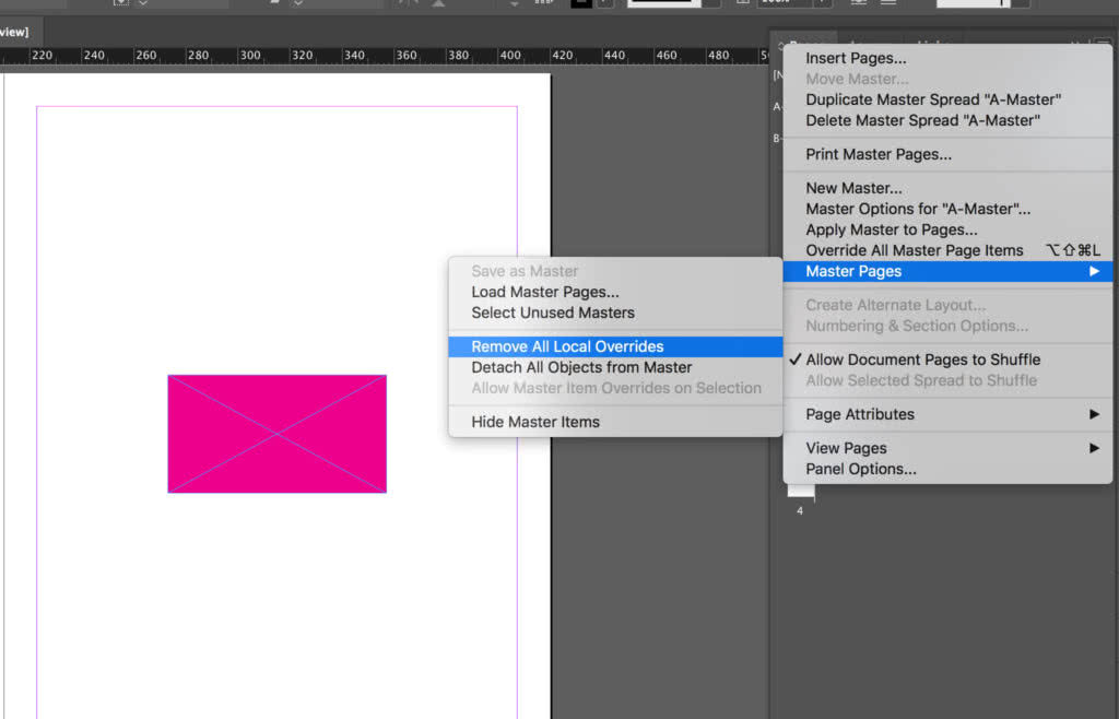 Remove overrides to an InDesign master page element