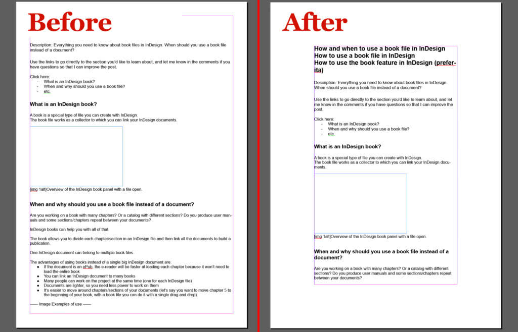 Page of the InDesign document before and after the master page update