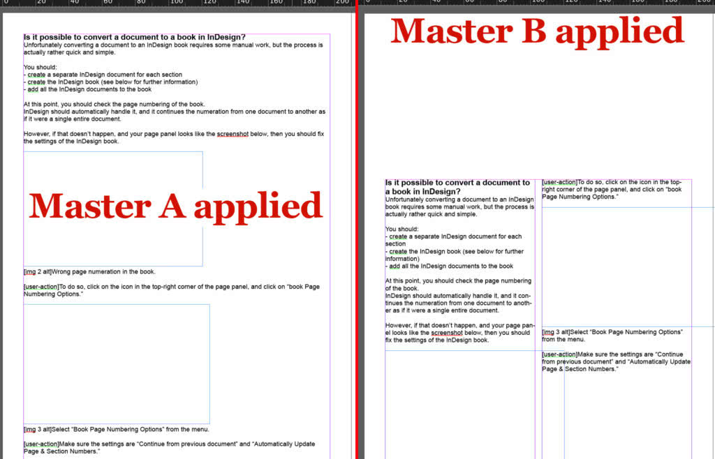 Difference between a page in the document with master page A and with master page B