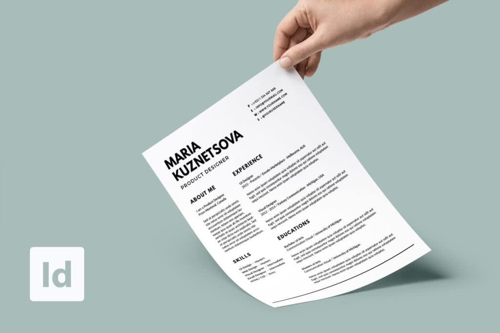 Minimalist InDesign Resume Template Preview