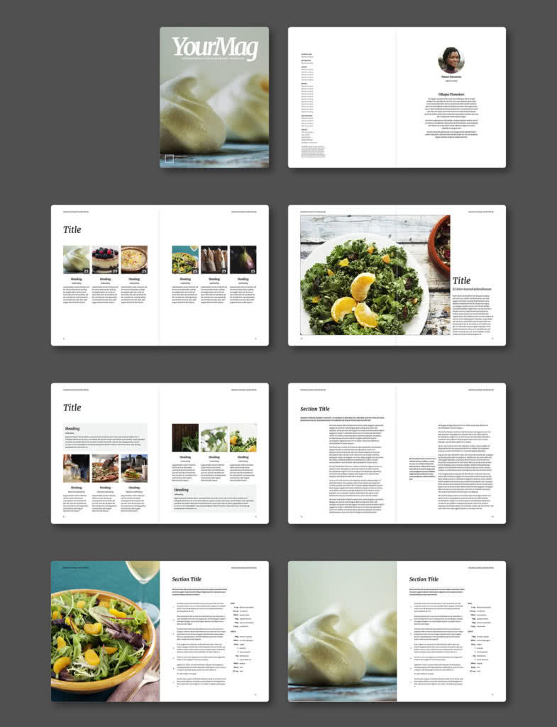 Food Magazine InDesign Template Preview