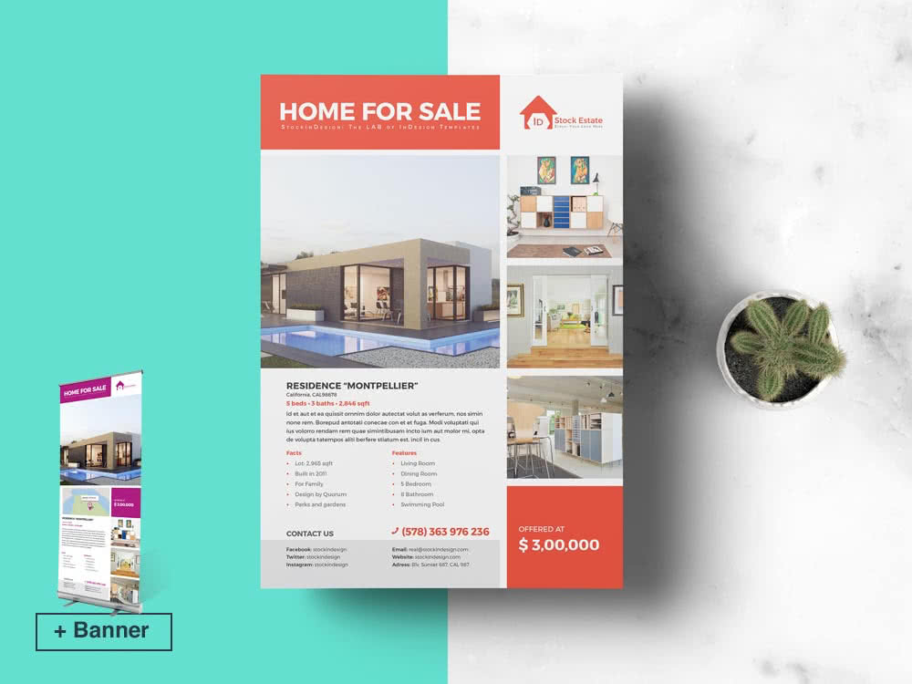 Real Estate Flyer InDesign Template Preview