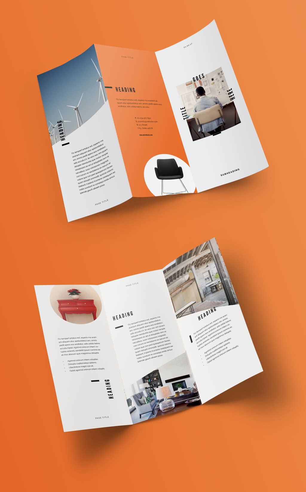Clean Trifold InDesign Template Preview