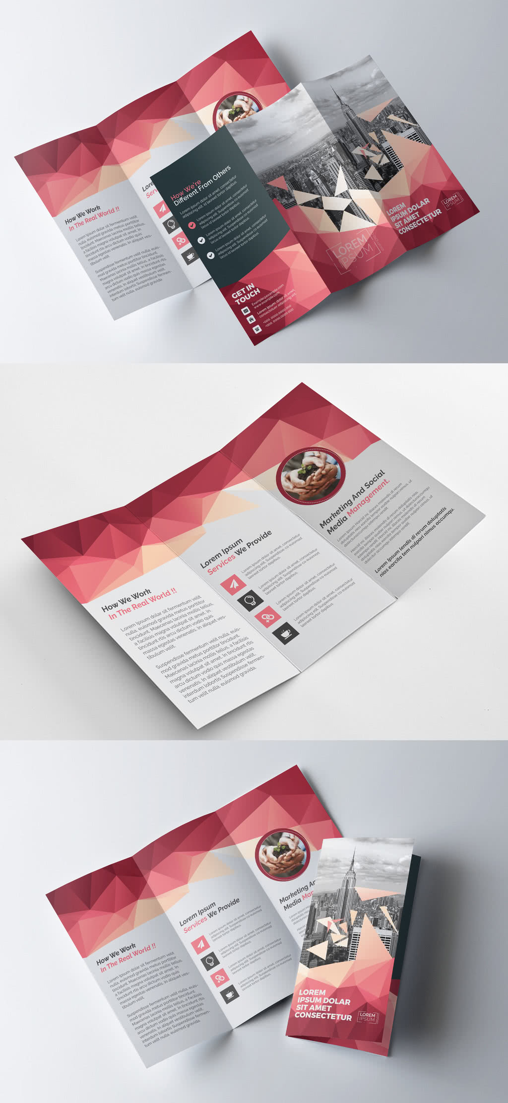 Trifold InDesign Template Preview