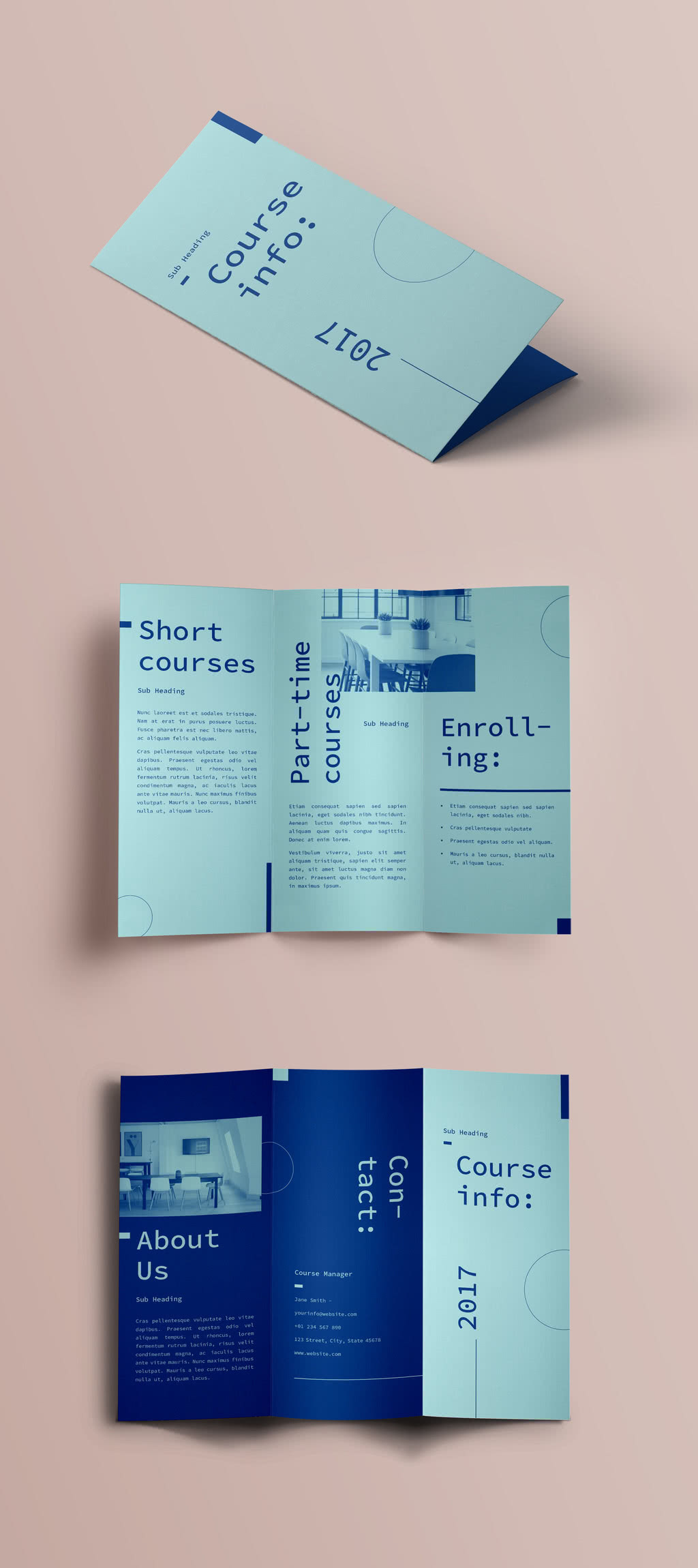 Modern Trifold InDesign Template Preview