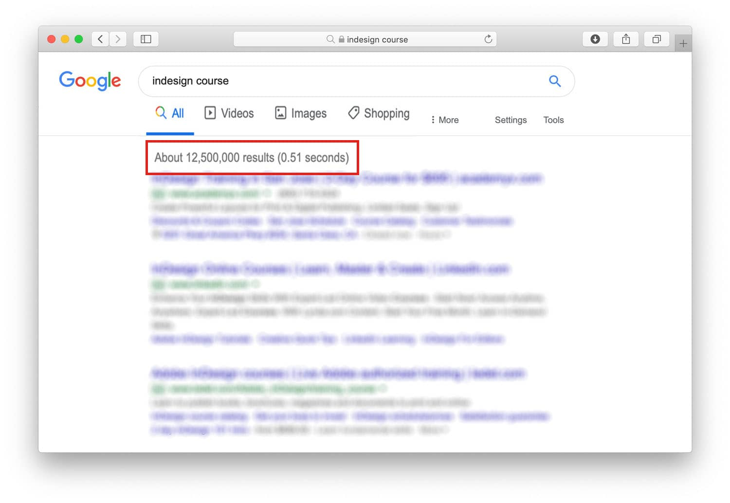 "Google results for keyword ""InDesign Course"""