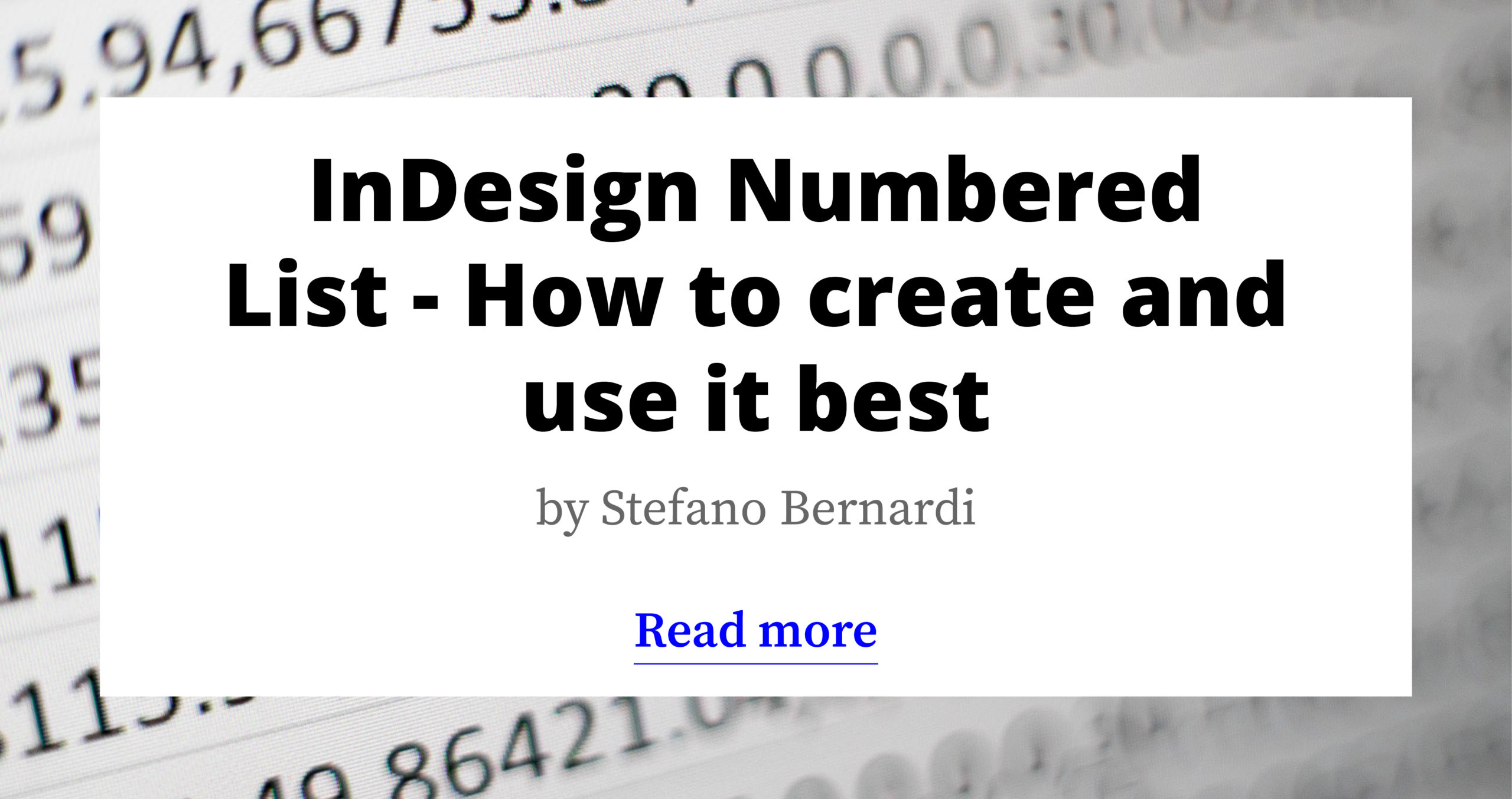 InDesign Numbered List - How to create and use it best